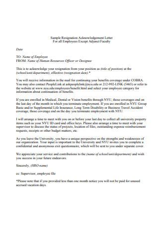 Sample Resignation Acknowledgement Letter