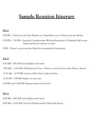 Sample Reunion Itinerary