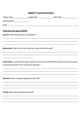 Sample SMART Goal Worksheet