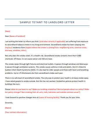 Sample Tenant to Landlord Letter