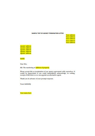 Sample Text of Agency Letter Termination