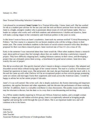 Sample Truman Scholarship Recommendation Letter