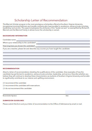 Scholarship Letter of Recommendation Form