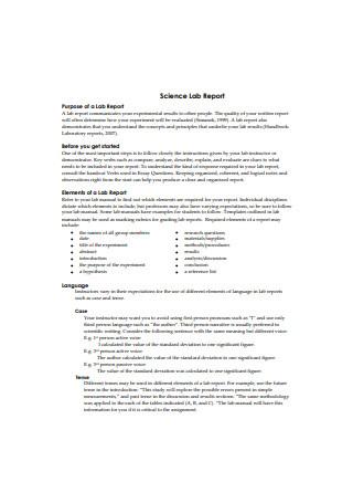 Science Lab Report Sample