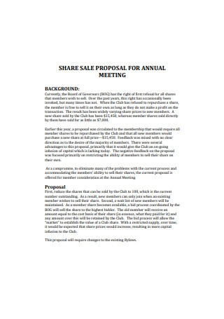 Share Sales Proposal for Annual Meeting
