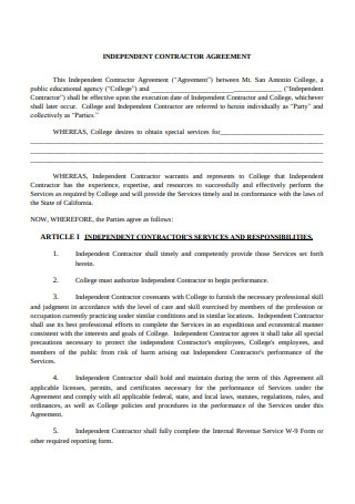 Short Form Standard Independent Contractor Agreement