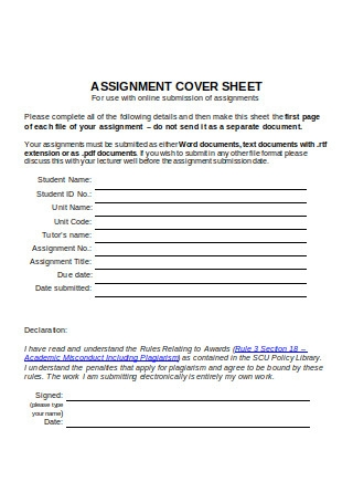 Simple Cover Sheet Format