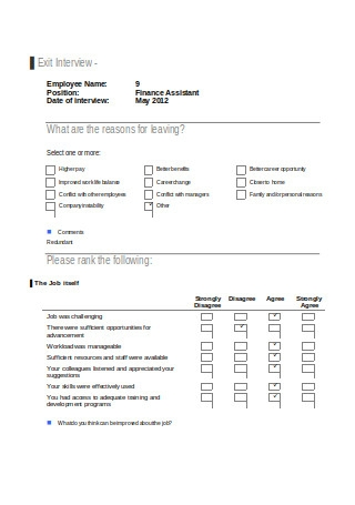 Simple Exit Interview Template
