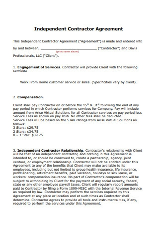 Simple Independent Contractor Agreement Form