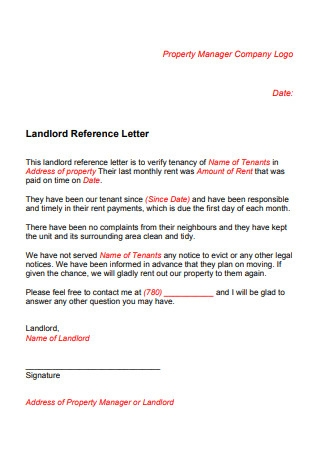 Simple Landlord Reference Letter