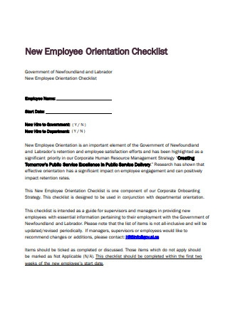 Simple New Employee Orientation Checklist