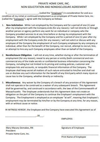Simple Non Solicitation and Nondisclosure Agreement