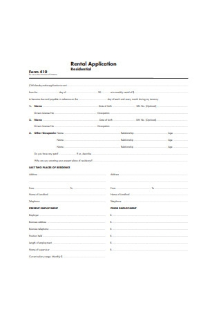 Simple Residental Rental Application Form