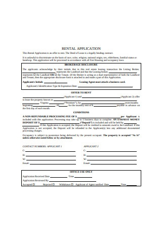 Simple Residential Rental Application Form