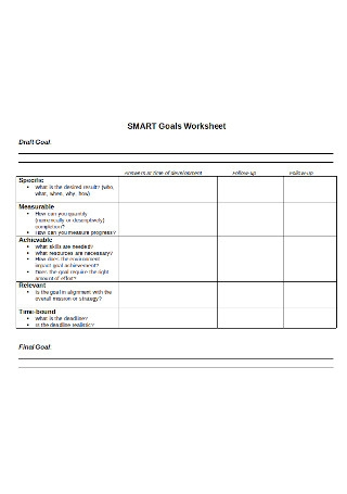 Simple SMART Goal Worksheet