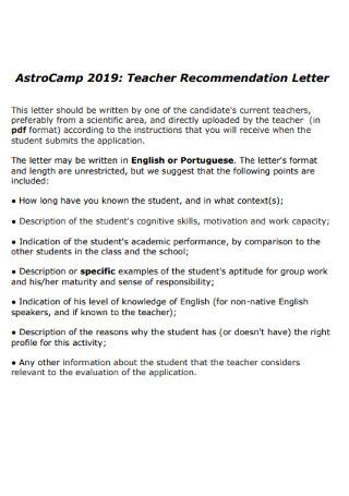 Simple Teacher Recommendation Letter