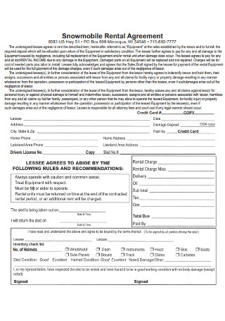 Snowmobile Rental Agreement