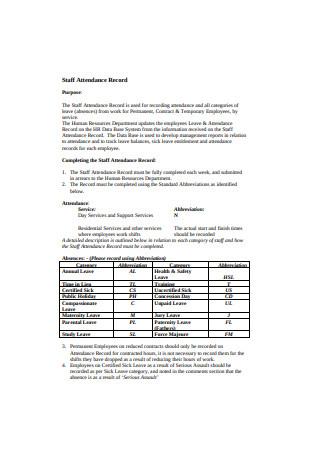Staff Attendance Record