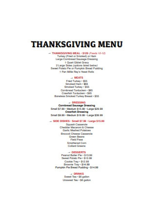 Standard Thanksgiving Menu