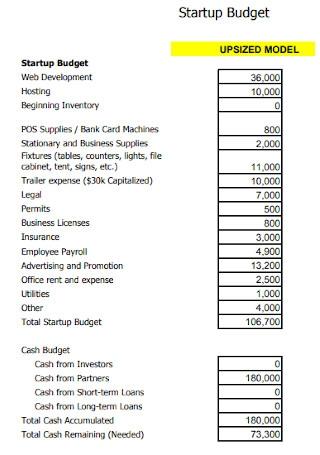 Startup Budget Format