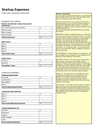 Startup Budget Worksheet