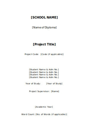 Student Projects Cover Page Template