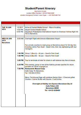 Student and Parent itinerary