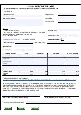 Sub Recipient Invoice