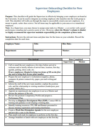 Supervisor Onboarding Checklist for New Employees