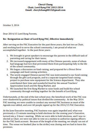 Teacher Resgnation Letter Sample