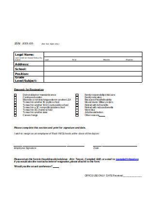 Teacher Resignation Letter Form Format