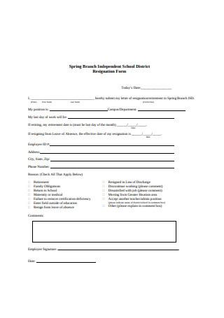 Teacher Resignation Letter Form