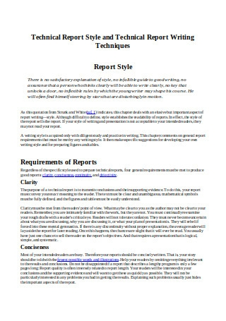 Technical Report Style and Technical Report