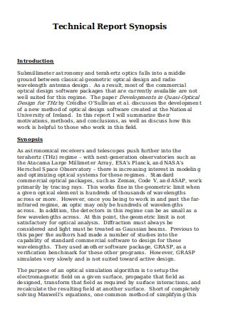 Technical Report Synopsis