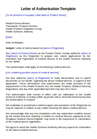 Template of Letter of Authorisation