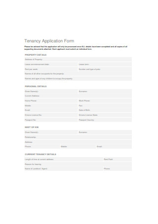 Tenancy Application Form Sample