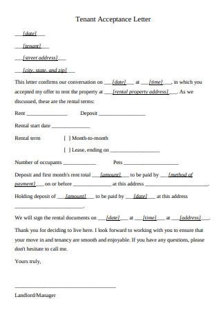 Tenant Acceptance Letter