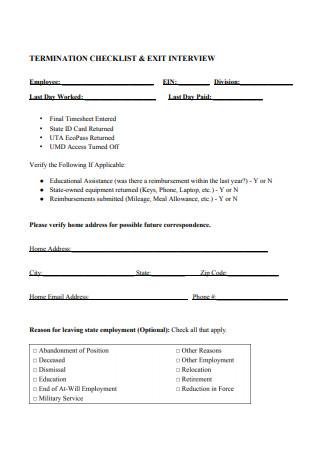 Termination Checklist Exit Interview Form