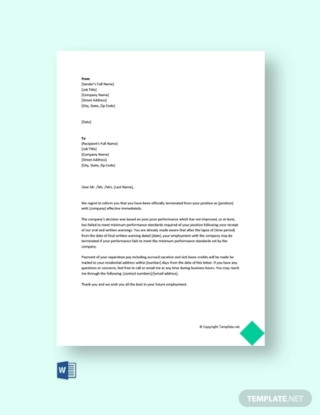 Termination Letter Due to Poor Performance