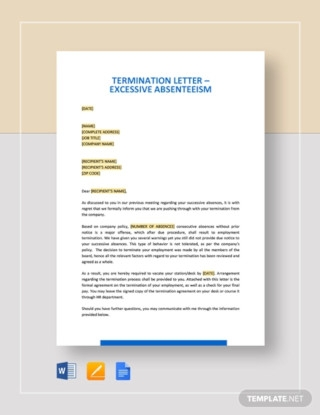 Termination Letter Excessive Absenteeism