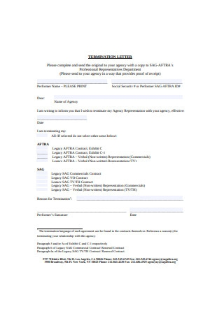 Termination Letter Form Format
