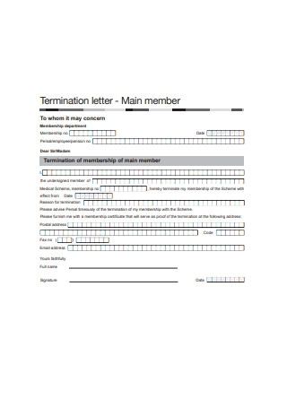 Termination Letter Form