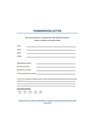 Termination Letter Format
