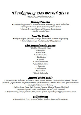 Thanksgiving Day Brunch Menu