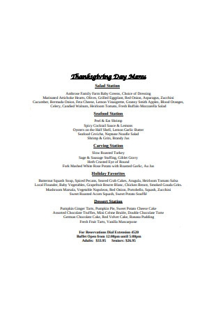 Thanksgiving Day Menu Example