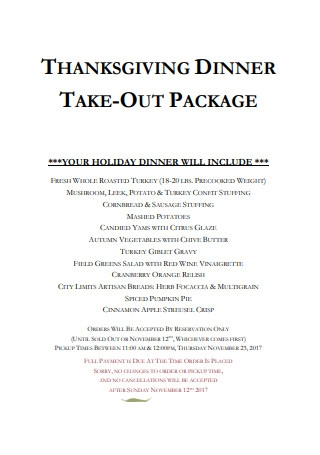 Thanksgiving Dineer Take Out Package Menu