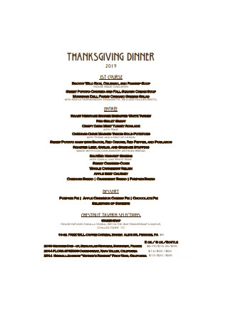 Thanksgiving Dinner Menu Example