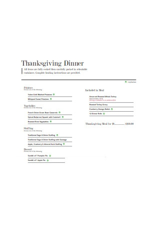 Thanksgiving Dinner Menu Sample