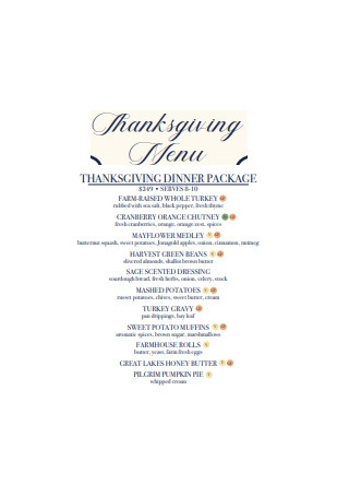 Thanksgiving Dinner Package Format