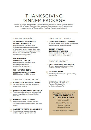 Thanksgiving Dinner Package Menu Example